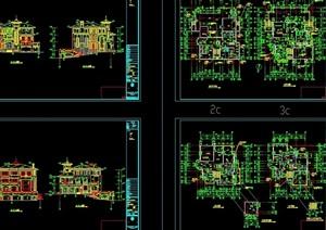 某欧式风格独特的多层别墅cad施工图