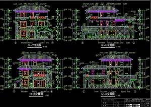 独栋的多层完整的住宅别墅设计cad施工图