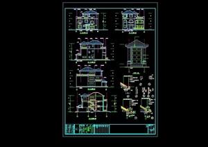 某豪园三期别墅区建筑结构水电cad施工图(含节能说明)