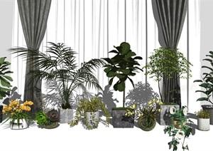 新中式盆栽 隔断 陶罐 植物组合SU(草图大师)模型2