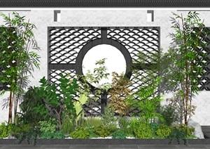 新中式植物 绿植 灌木 盆栽 景墙SU(草图大师)模型