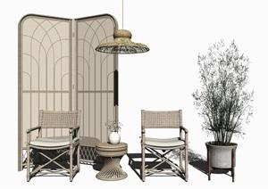 新中式休闲椅茶几组合 椅子 隔断 屏风 盆栽SU(草图大师)模型2