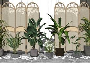 现代盆栽 绿植 植物 隔断 鹅卵石组合SU(草图大师)模型