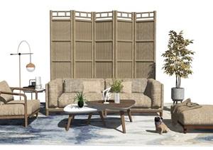 新中式沙发茶几组合落地灯隔断屏风盆栽SU(草图大师)模型