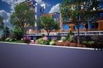广场与园路整体采用不规则折现拼接,与道路两侧,商业景观相互配合,体现现代气息。
