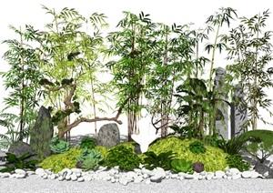 新中式景观小品 竹子 植物 石头 鹅卵石SU(草图大师)模型