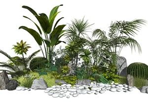现代室外灌木 植物 石头 仙人掌组合SU(草图大师)模型