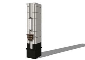 大氣新中式柱子(帶壁燈)詳細設計SU(草圖大師)模型