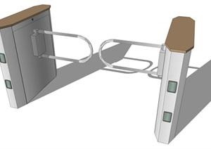 人行入口闸道口详细设计SU(草图大师)模型