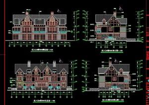 某详细的欧式别墅建筑设计cad施工图