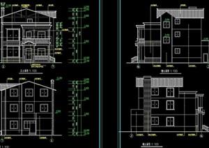详细的整体欧式别墅建筑设计cad施工图