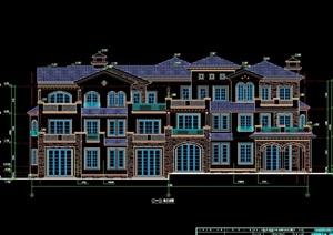 整体欧式别墅建筑设计cad施工图天正打开
