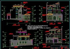 详细的整体别墅建筑设计cad施工图