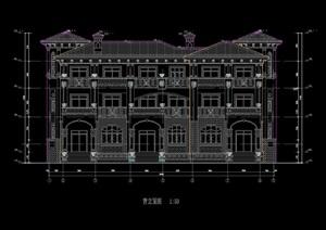 欧式风格多层别墅建筑设计cad施工图