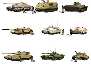现代坦克装甲车特种兵军事人物SU(草图大师)模型