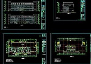 某职业中学食宿楼建筑结构水电cad施工图