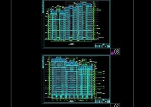 欧式详细小区十八层住宅楼建筑cad施工图