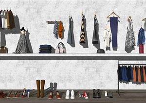 现代衣服鞋子包包围巾组合SU(草图大师)模型
