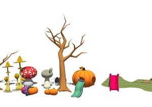 现代儿童游乐设施 卡通雕塑 滑滑梯SU(草图大师)模型