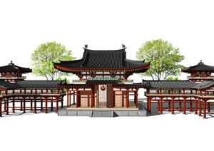 中式古建筑亭子观景台连廊SU(草图大师)模型