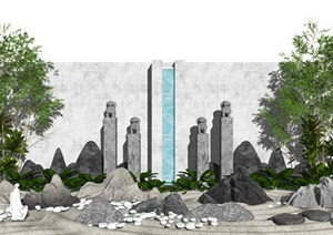 新中式庭院景观 景观小品 假山石头 石头 景墙 枯山水 植物SU(草图大师)模型