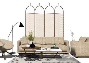 现代沙发茶几组合休闲沙发隔断摆件SU(草图大师)模型