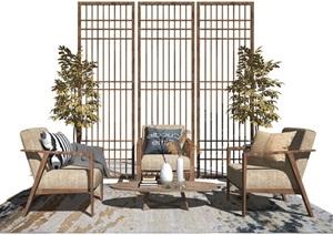新中式休闲沙发隔断沙发茶几组合单人沙发休闲椅盆栽摆件SU(草图大师)模型