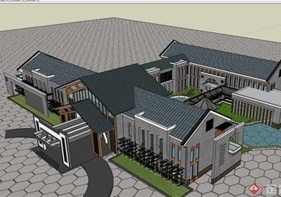 某中式风格详细的会所建筑多层设计su模型