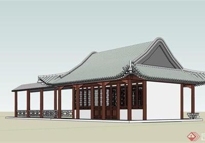 某古典中式风格长廊及禅房设计su模型