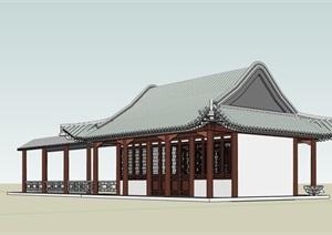 某古典中式风格长廊及禅房设计SU(草图大师)模型