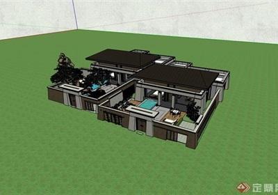 完整的详细多层别墅建筑设计su模型
