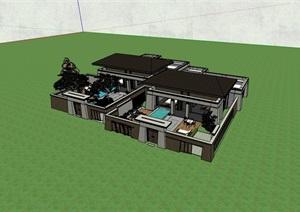 完整的详细多层别墅建筑设计SU(草图大师)模型