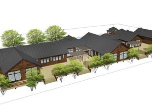 新中式民宿建筑度假村木屋SU(草图大师)模型
