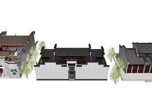 中式古建筑四合院寺庙建筑马头墙SU(草图大师)模型