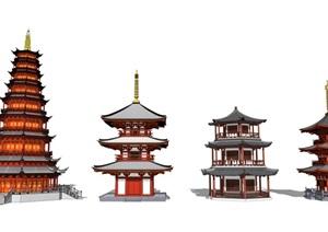 中式古建筑塔楼建筑寺庙建筑斗拱结构SU(草图大师)模型