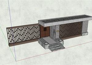 某详细的完整中式围墙大门入口SU(草图大师)模型