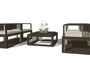 新中式座凳详细设计SU(草图大师)模型