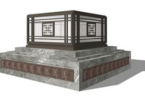 中式景观灯详细设计SU(草图大师)模型