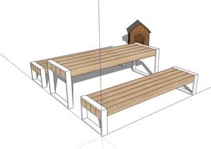 详细的户外餐桌椅SU(草图大师)模型