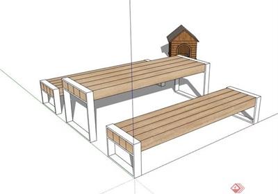 详细的户外餐桌椅su模型