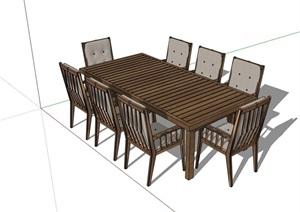 多人详细的户外餐桌椅SU(草图大师)模型