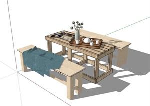 详细的户外餐桌椅素材SU(草图大师)模型