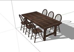 完整的详细的户外餐桌椅SU(草图大师)模型