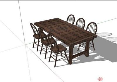 完整的详细的户外餐桌椅su模型