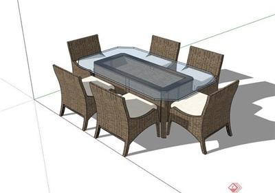 详细的户外餐桌椅素材节点su模型