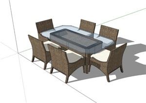 详细的户外餐桌椅素材节点SU(草图大师)模型