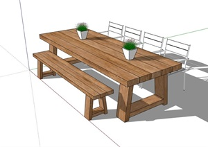 详细的户外桌椅素材设计SU(草图大师)模型
