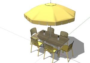 详细的户外伞餐桌椅SU(草图大师)模型