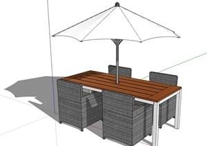 现代风格详细的户外伞桌椅SU(草图大师)模型