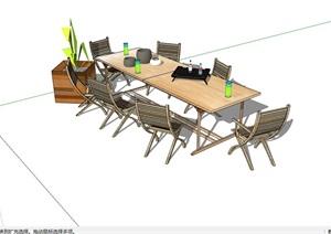 详细的素材户外餐桌椅SU(草图大师)模型